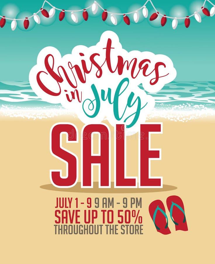 Plantilla del márketing de la venta de la Navidad en julio ilustración del vector