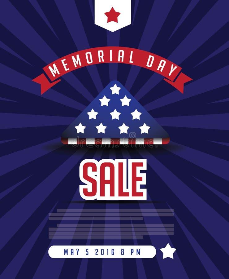 Plantilla del márketing de la venta de Memorial Day ilustración del vector