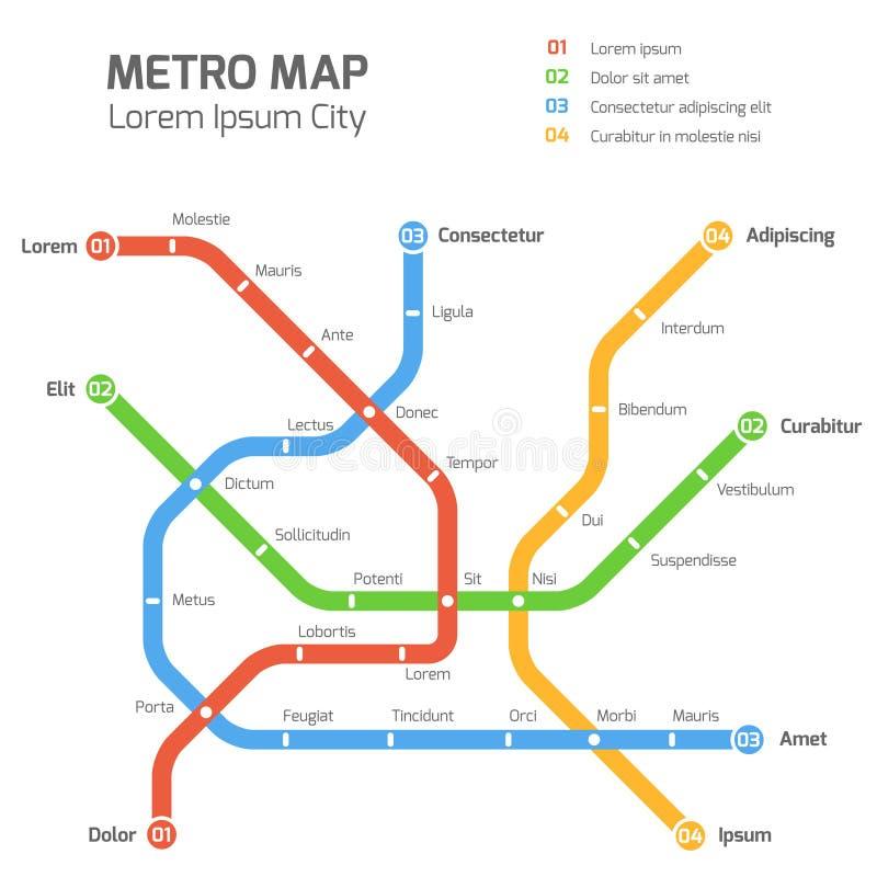 Plantilla del mapa del vector del subterráneo Esquema del transporte del metro de la ciudad stock de ilustración