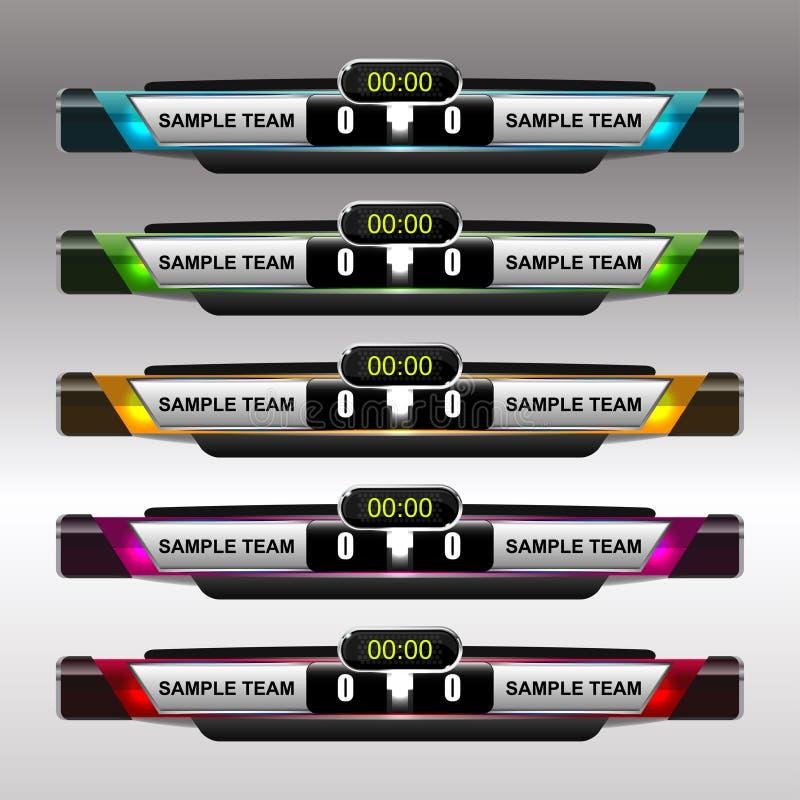 Plantilla del marcador del fútbol y del fútbol ilustración del vector