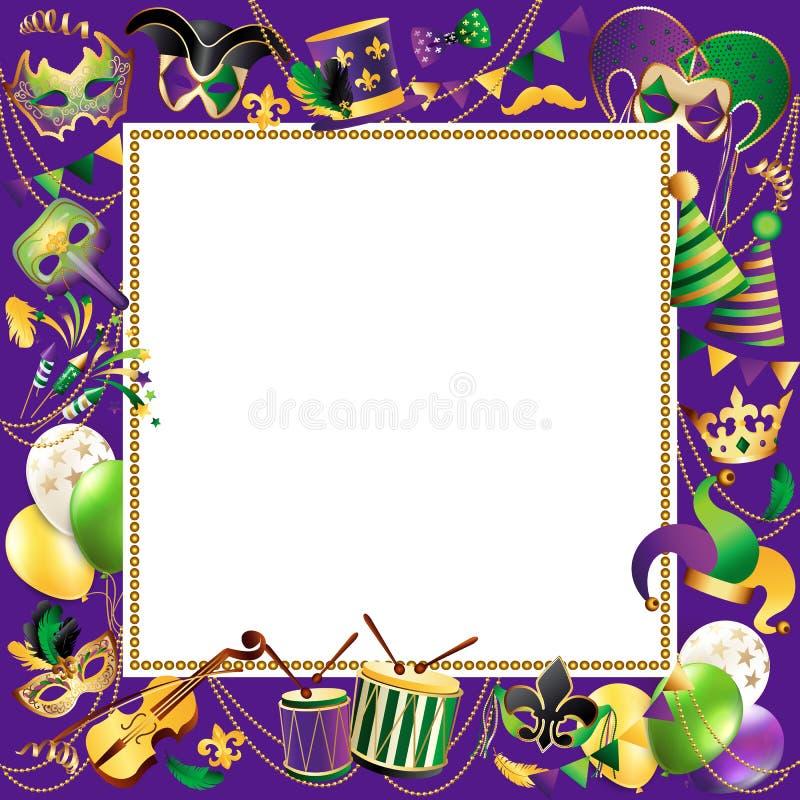 Plantilla del marco con las máscaras de oro del carnaval en fondo negro Frontera festiva de la celebración que brilla Vector ilustración del vector