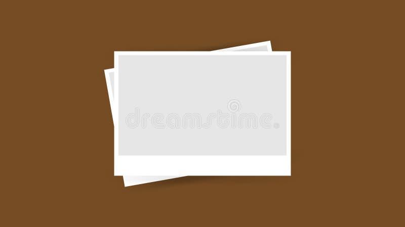 Plantilla del marco de la foto aislada en el fondo marrón, collage de la foto de los marcos en el marrón para la bandera, marco stock de ilustración