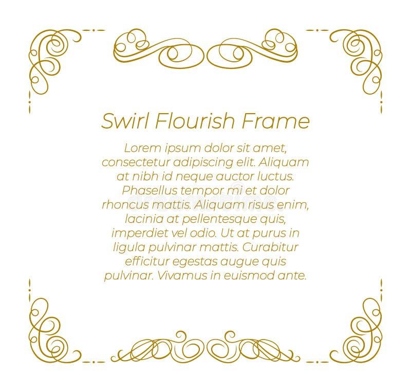 Plantilla del marco de Swirly del vector, cubierta elegante, afiligranado de oro en el fondo blanco stock de ilustración