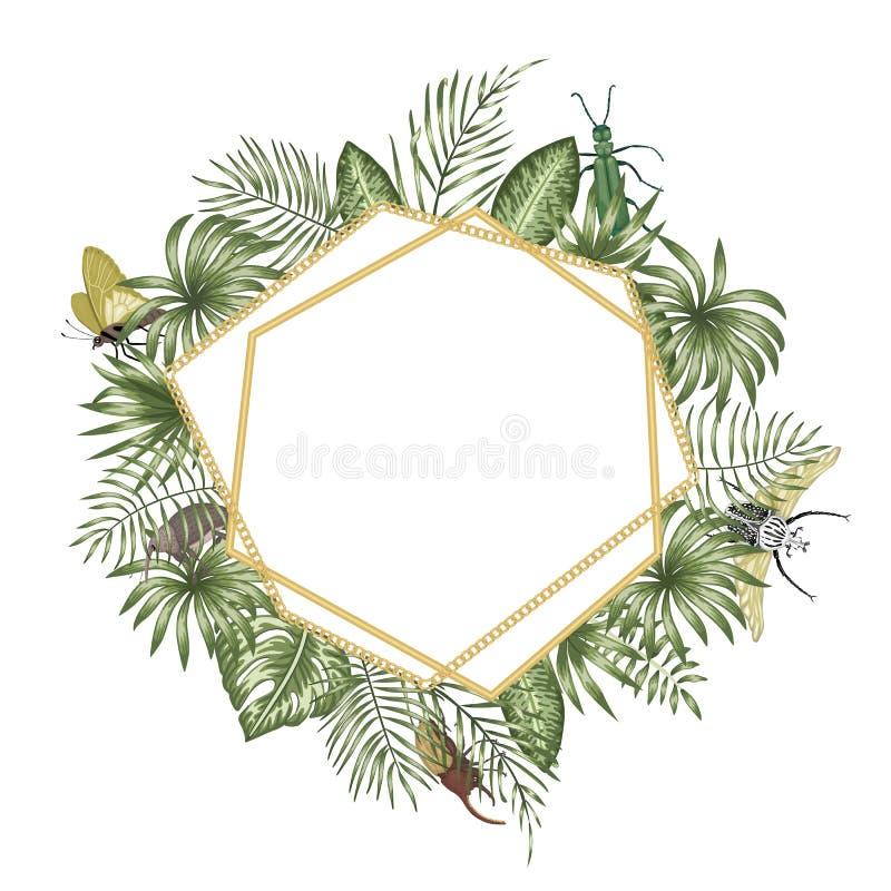 Plantilla del marco del vector con las hojas tropicales, los insectos y la cadena de oro con el lugar blanco para el texto Tarjet stock de ilustración