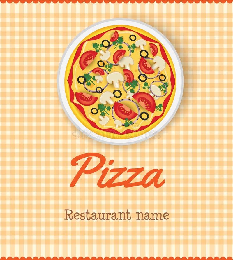 Plantilla del menú con la pizza ilustración del vector