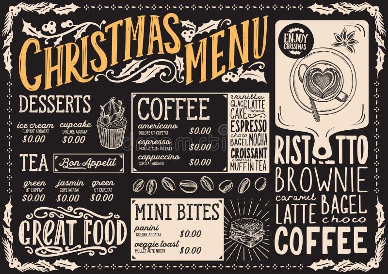 Plantilla del menú de la Navidad para la cafetería en un folleto del ejemplo del vector de la pizarra para la celebración del día stock de ilustración