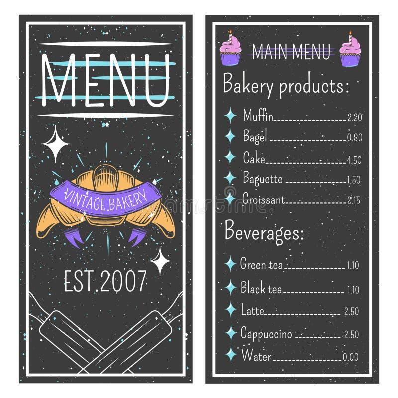 Plantilla del menú de la panadería del vintage libre illustration
