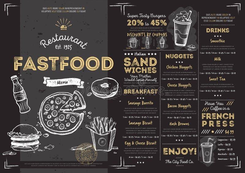 Plantilla del menú de los alimentos de preparación rápida del café del restaurante libre illustration