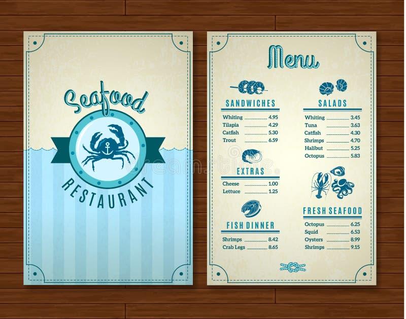 Plantilla del menú de los mariscos ilustración del vector