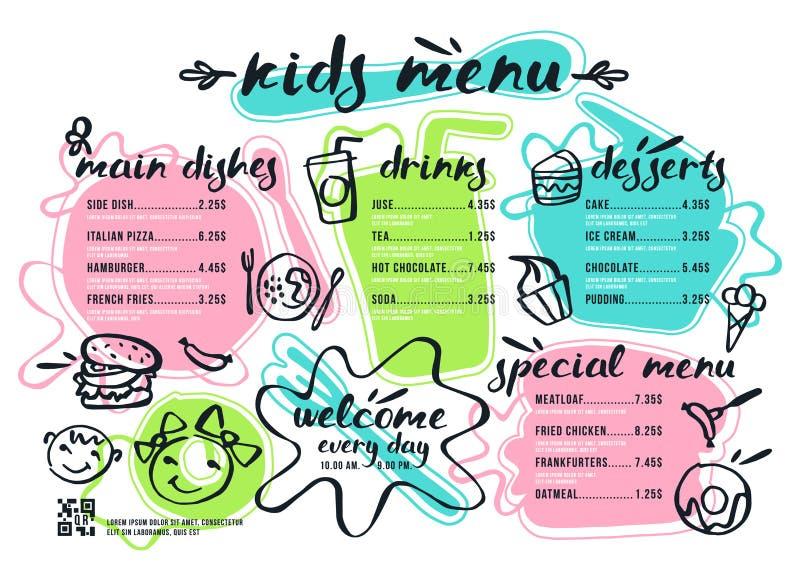 Plantilla del menú de los niños con las letras y las insignias stock de ilustración