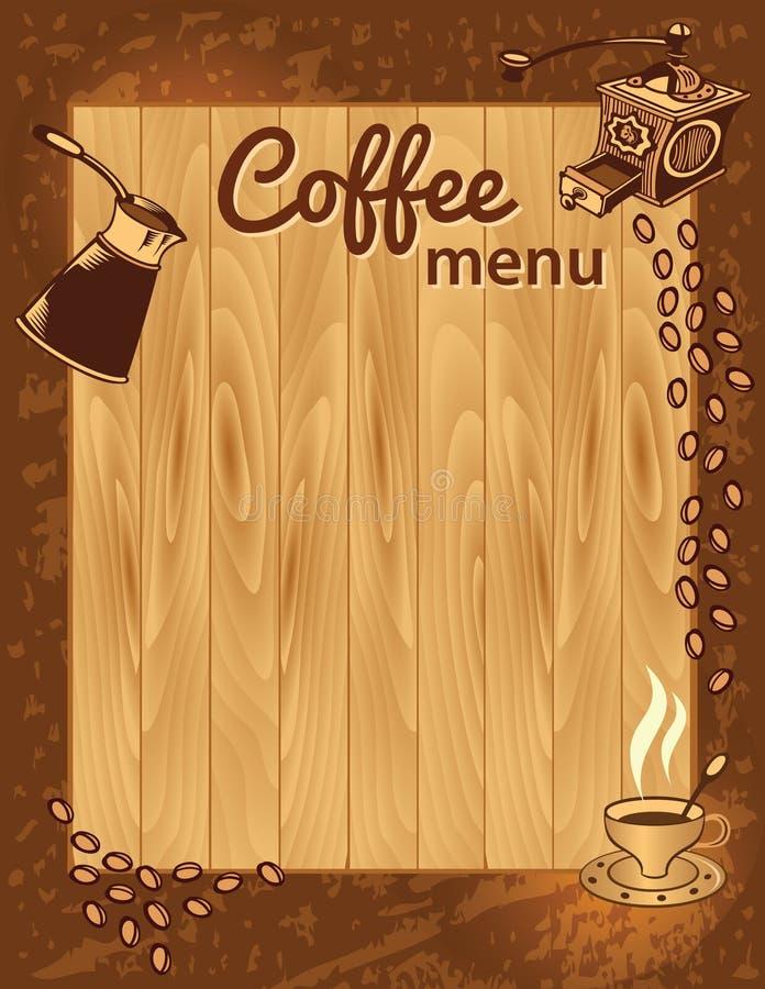 Plantilla del menú del café stock de ilustración