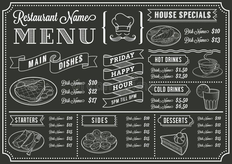 Plantilla del menú del restaurante de la pizarra ilustración del vector