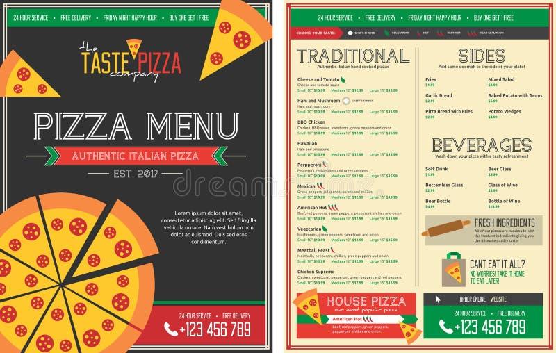 Plantilla del menú del restaurante de la pizza - frente y parte posterior ilustración del vector