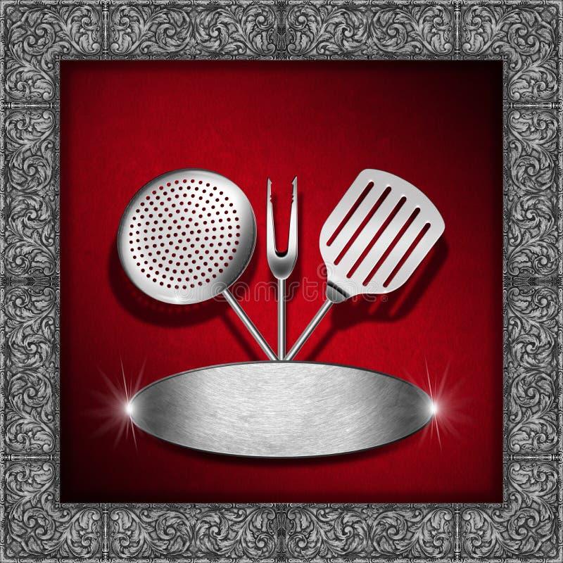Plantilla del menú del vintage - rojo y plata ilustración del vector