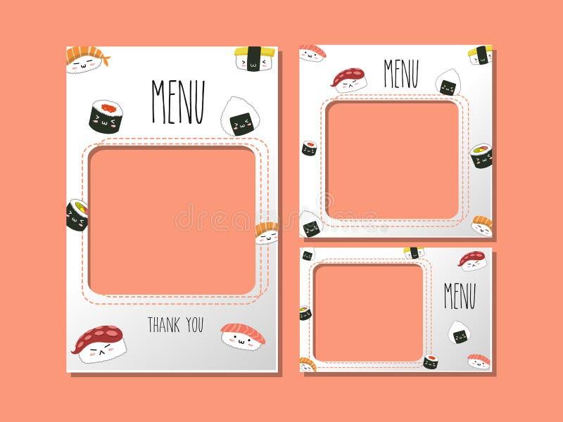 Plantilla del menú para el estilo del sushi de la comida de Japón ilustración del vector
