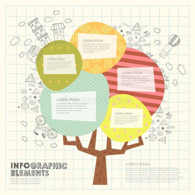 Plantilla Del Modelo Del Collage Con El árbol Colorido Ilustración ...