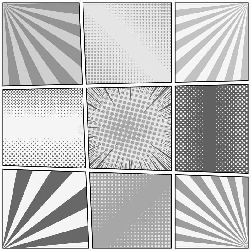 Plantilla del monocromo del cómic ilustración del vector