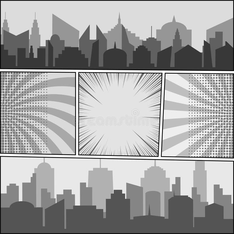 Plantilla del monocromo del cómic stock de ilustración