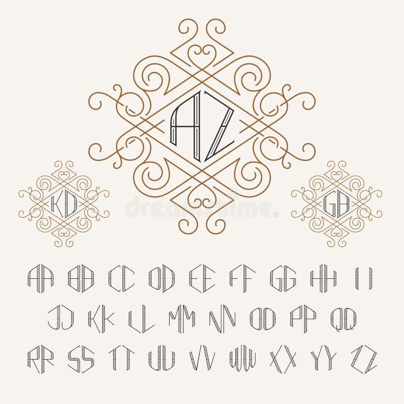 Plantilla del monograma de dos letras en estilo del esquema Sistema de letras de A a Z stock de ilustración