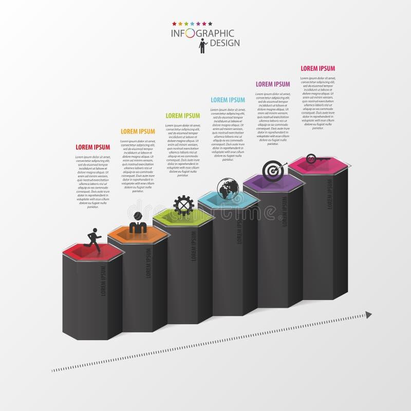 Plantilla del negocio de Infographic Hexágonos en 3d Vector libre illustration