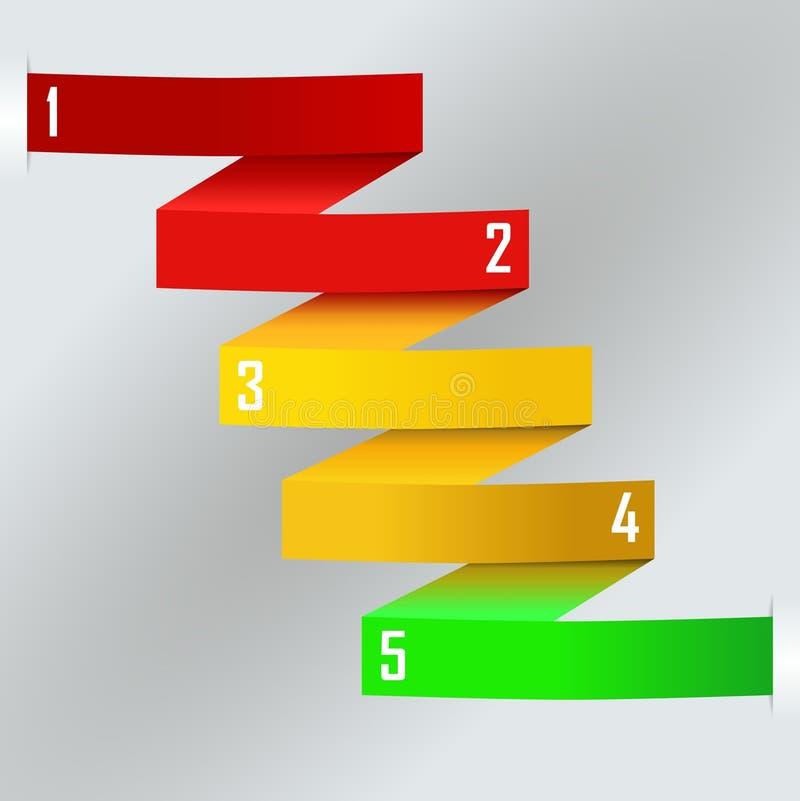 Plantilla del negocio de la banda del papel coloreado del arco iris del zigzag stock de ilustración