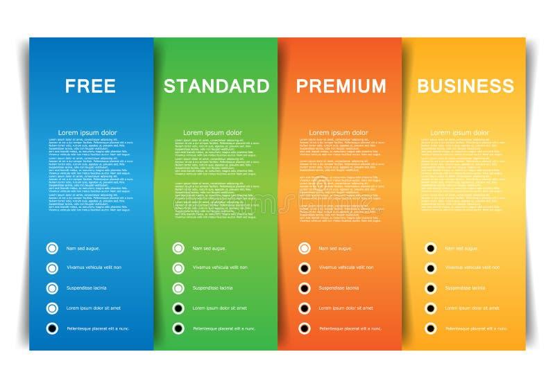 Plantilla del negocio del vector con el producto y servicios de cuatro opciones ilustración del vector