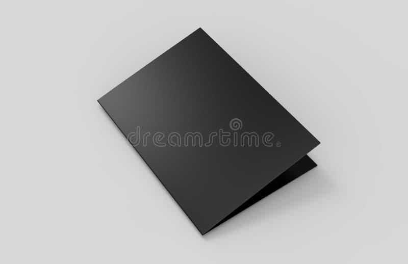 Plantilla del negro del espacio en blanco del folleto del mitad-doblez A3 para la mofa ascendente y el diseño de la presentación  ilustración del vector