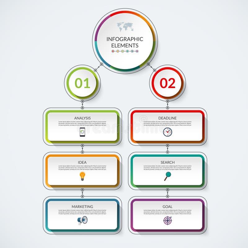Plantilla del organigrama de Infographic con 2 círculos de la opción y 6 etiquetas ilustración del vector