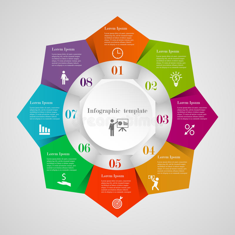 Plantilla del organigrama del pentágono del círculo de Infographic ilustración del vector