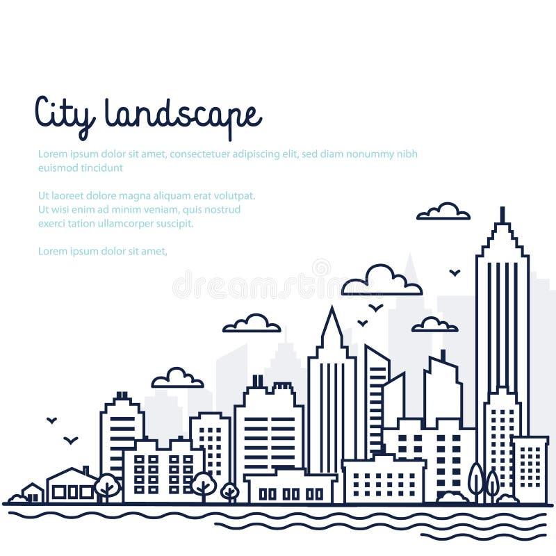 Plantilla del paisaje de la ciudad Línea fina paisaje de la ciudad Paisaje céntrico con los altos rascacielos Arquitectura del pa libre illustration
