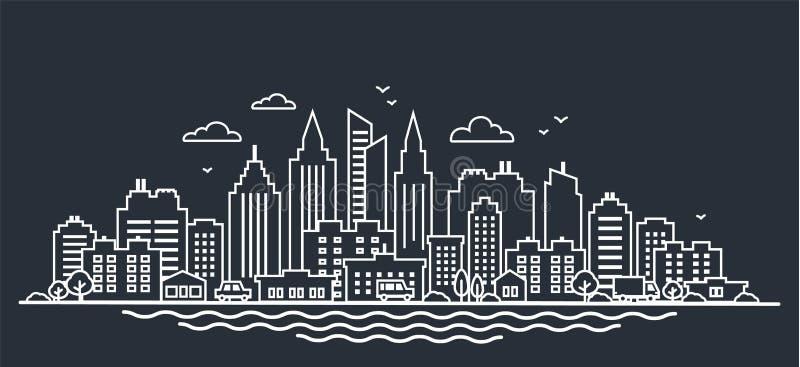 Plantilla del paisaje de la ciudad Línea fina paisaje de la ciudad de la noche Paisaje céntrico con los altos rascacielos en oscu stock de ilustración
