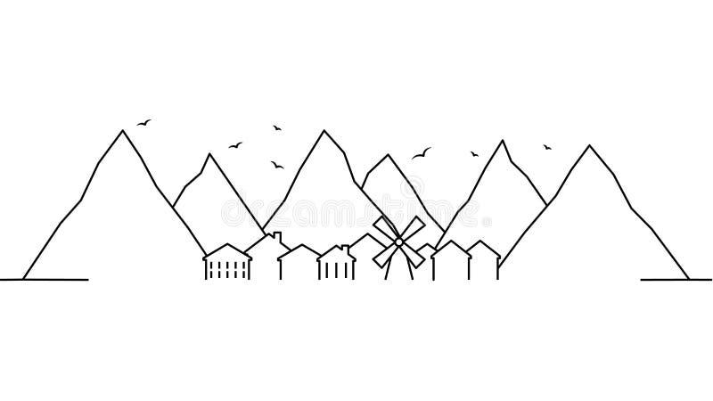 Plantilla del paisaje de la ciudad Línea fina paisaje de la ciudad Paisaje urbano, ejemplo aislado montaña del esquema Illustrati libre illustration