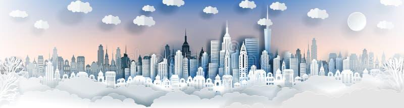 Plantilla del paisaje de la ciudad Paisaje de papel de la ciudad Paisaje céntrico con los altos rascacielos libre illustration