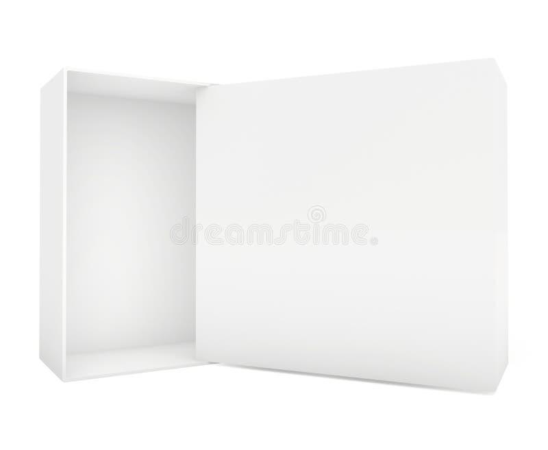 Plantilla del papel en blanco o de la caja de cartón que se coloca en el fondo blanco foto de archivo libre de regalías