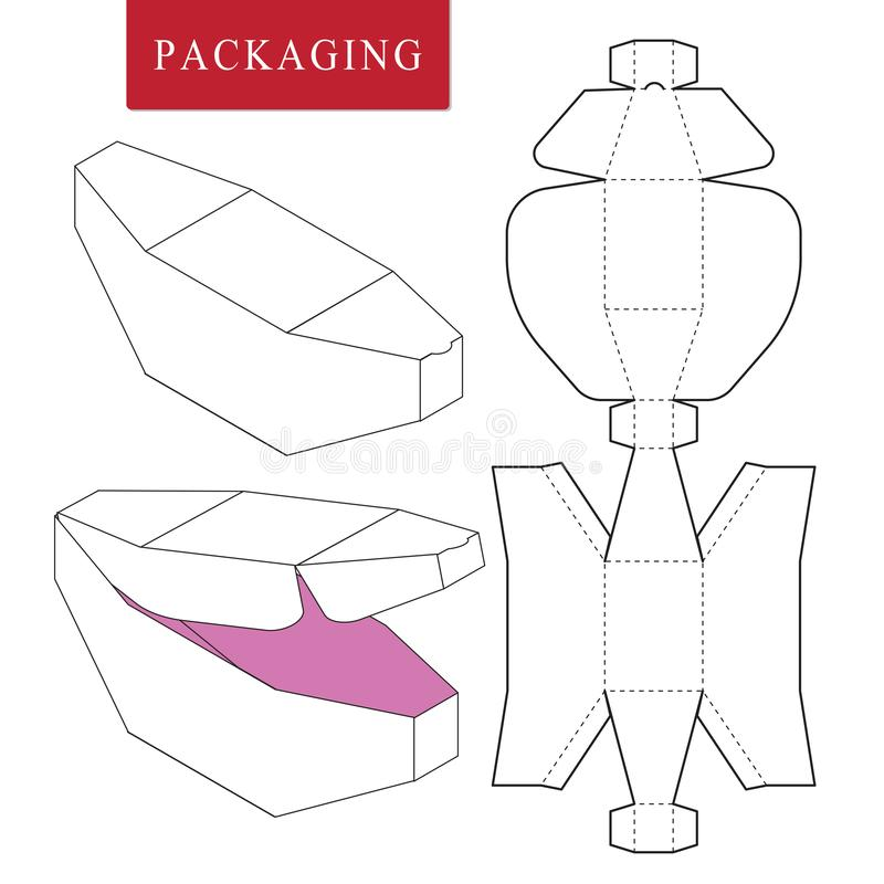 plantilla del paquete Ejemplo del vector de la caja de la manija stock de ilustración