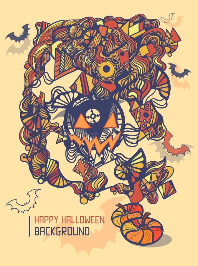 Plantilla del partido de Halloween, estilo del garabato libre illustration