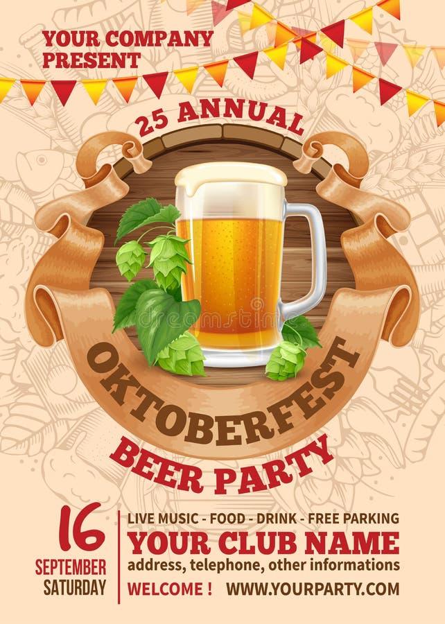 Plantilla del partido de la cerveza de Oktoberfest stock de ilustración