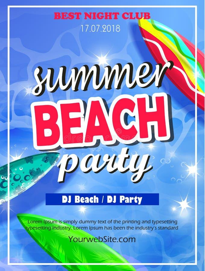 Plantilla del partido de la playa del verano stock de ilustración