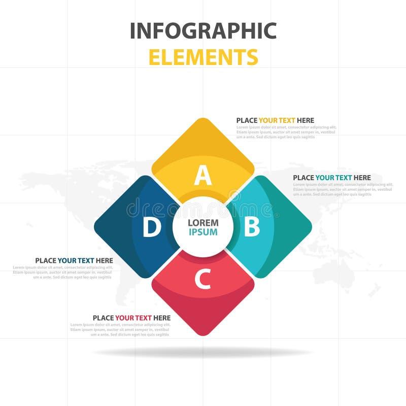 Plantilla del proceso de la cronología de Infographic del negocio, desgin colorido del cuadro de texto de la bandera para la pres libre illustration