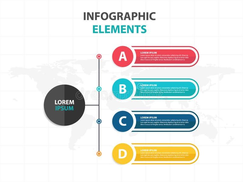 Plantilla del proceso de la cronología de Infographic del negocio, desgin colorido del cuadro de texto de la bandera para la pres stock de ilustración