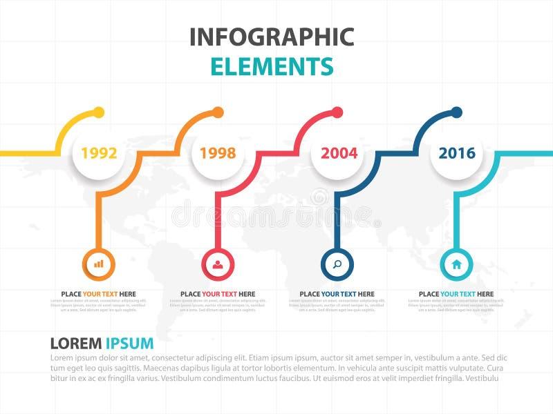 Plantilla del proceso de la cronología de Infographic del negocio, diseño colorido del cuadro de texto de la bandera para la pres ilustración del vector