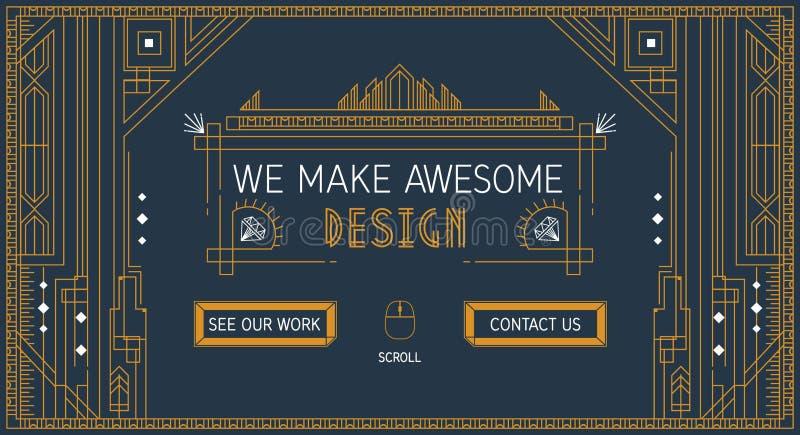 Plantilla del resbalador del sitio web del vector en línea fina Estilo de moda del art déco Diseño plano de la diapositiva libre illustration