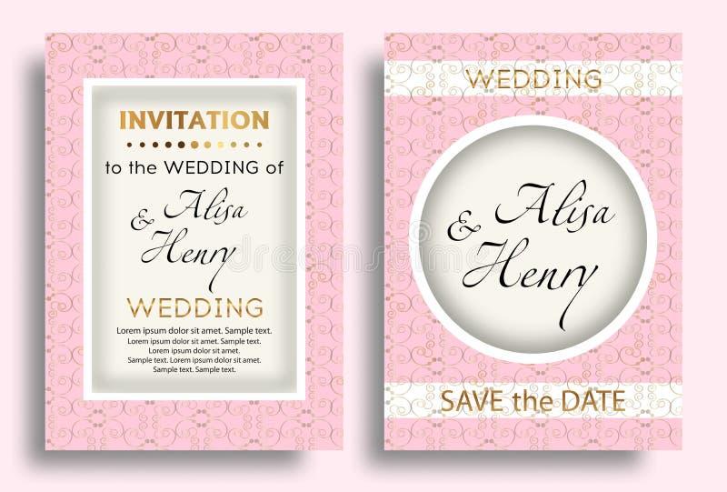 Plantilla del rosa de la invitación de la boda Fondo elegante determinado con la tarjeta de felicitación de oro de los ornamentos ilustración del vector