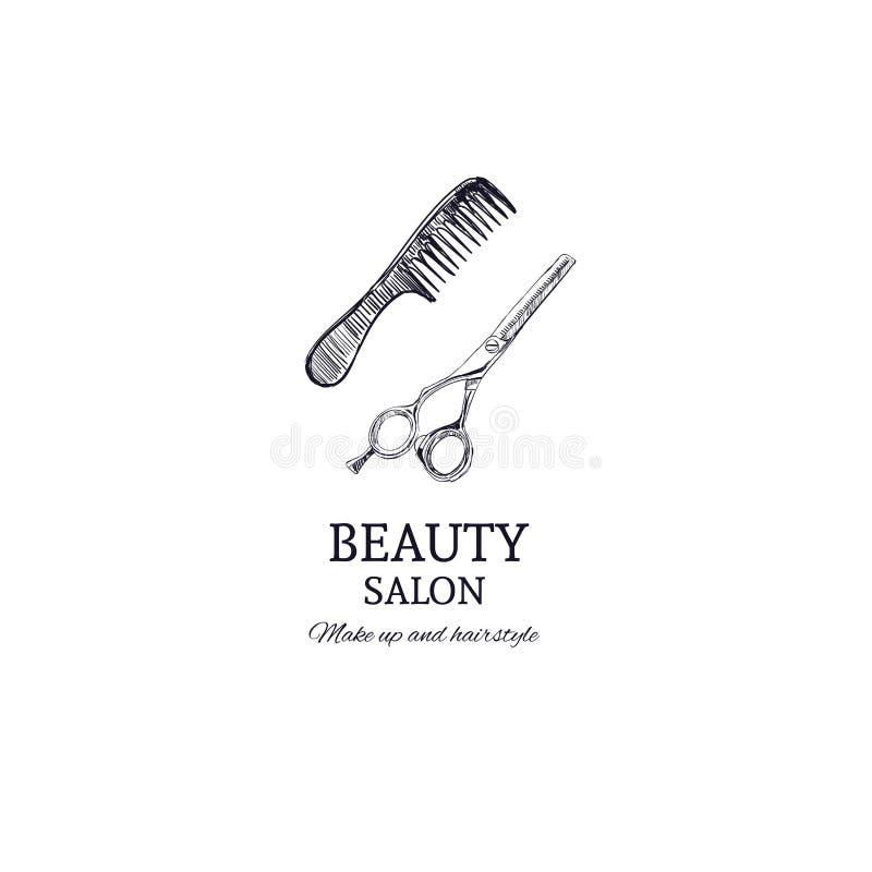 Plantilla del salón de belleza Ilustración drenada mano del vector hairstylist ilustración del vector