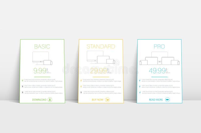 Plantilla del sitio web con el recibimiento de las tarifas Plantilla del plan de la bandera de la tarifa del negocio Modelo de In libre illustration
