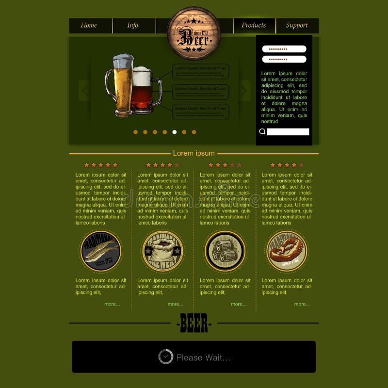 Plantilla del sitio web con la cerveza ilustración del vector