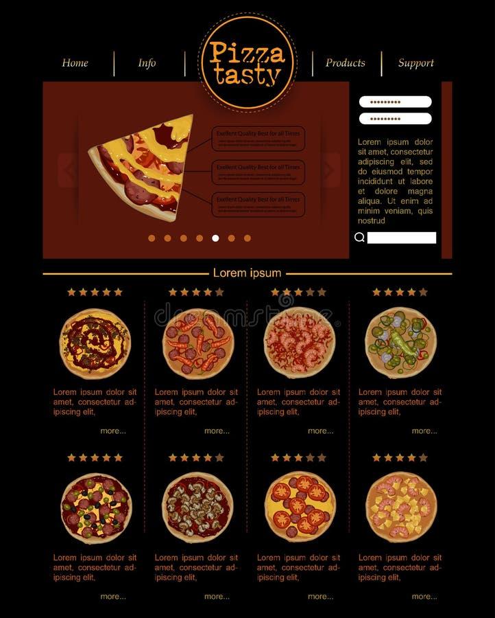 Plantilla del sitio web con variedades de pizza stock de ilustración