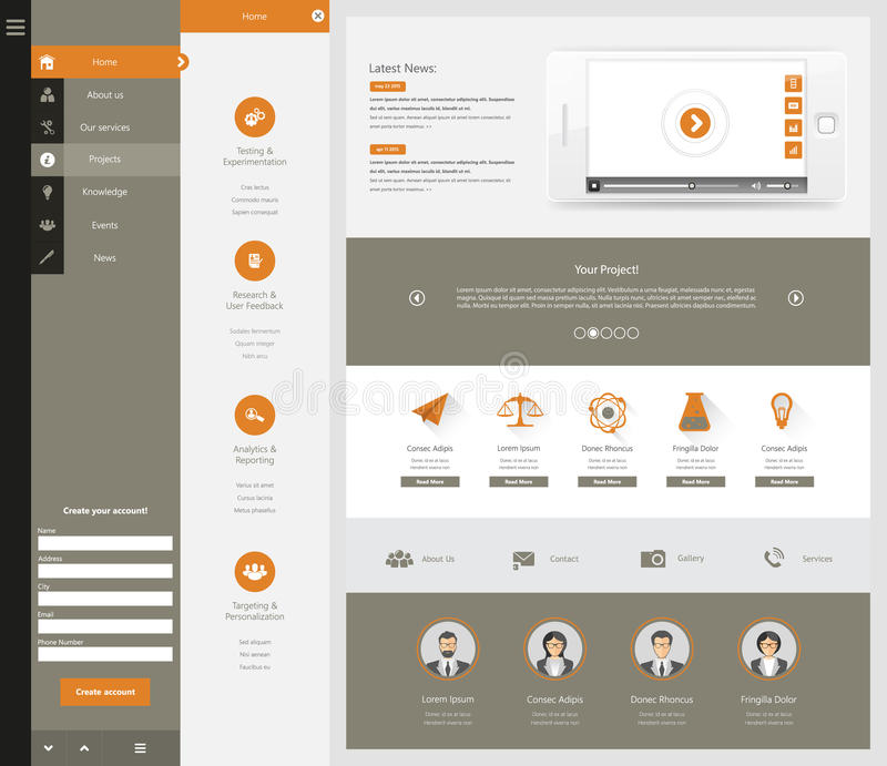 Plantilla del sitio web para su negocio ilustración del vector