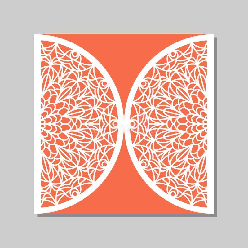 Plantilla del sobre con el ornamento del cordón de la mandala stock de ilustración