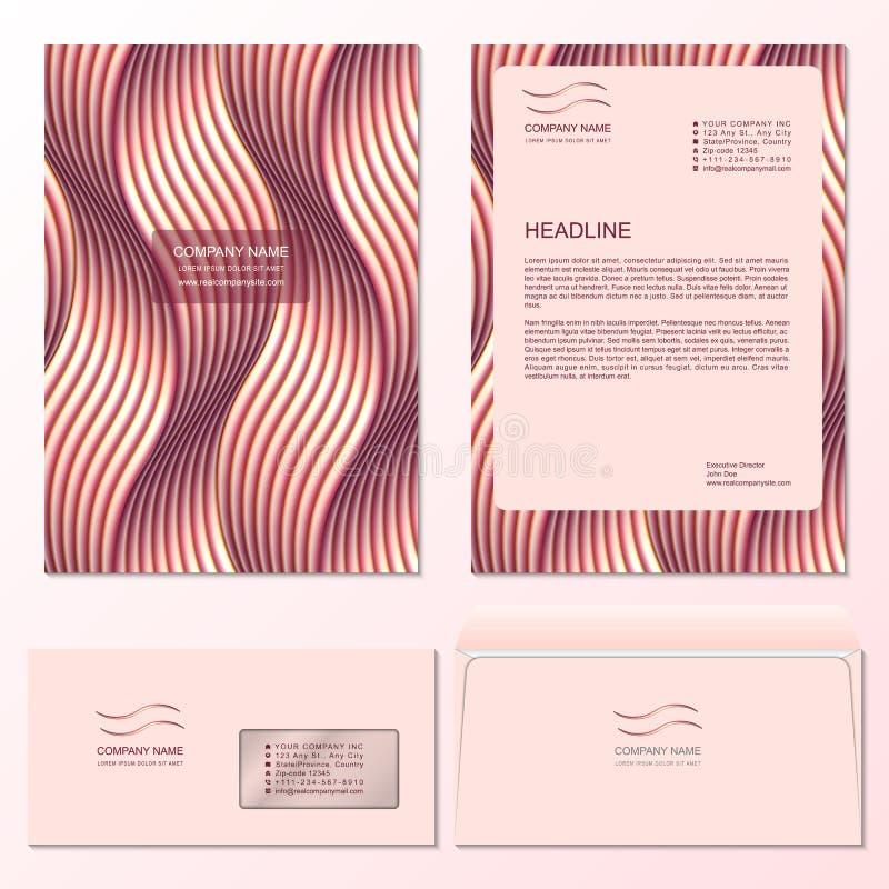 Plantilla del sobre del papel con membrete y del correo con el modelo de cobre tejido fotos de archivo